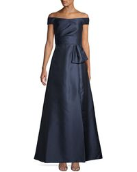 Adrianna Papell Mikado Off-the-shoulder Gown - Blue