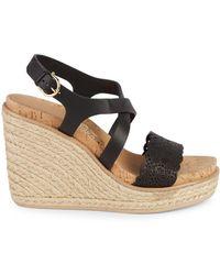 4b6039c71cb Gioela Lasercut Wedge Sandals - Black