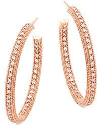 Freida Rothman - Crystal And Sterling Silver Hoop Earrings - Lyst