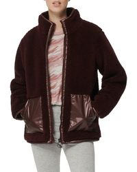Marc New York Women's Mixed Media Faux Shearling Jacket - Burgundy - Size M - Brown