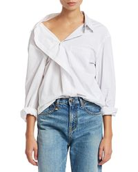 R13 Stripe Combo Shirt - White