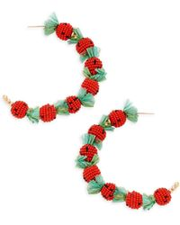 Kenneth Jay Lane Strawberry Hoop Earrings - Multicolor