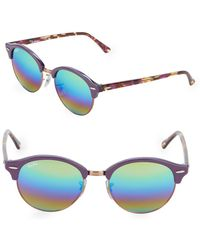 Ray-Ban - 51mm Violet Round Sunglasses - Lyst