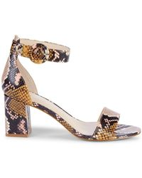Marc Fisher Women's Cromie Snakeskin-embossed Leather Heeled Sandals - Tan Multi - Size 6.5 - Metallic