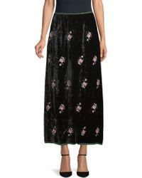 Ms Min - Jade Embroidered Crushed Velvet Skirt - Lyst