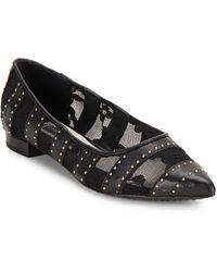 Alice + Olivia Karen Leather Embellished Flats - Black