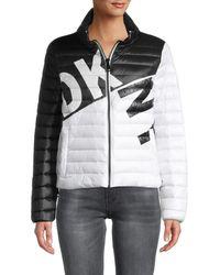 DKNY Women's Logo Colorblock Packable Jacket - Black White - Size Xs