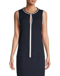 Tommy Hilfiger Front-keyhole Sleeveless Top - Blue