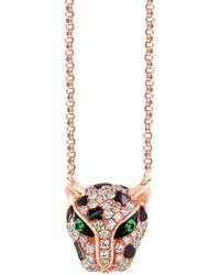 Effy 14k Rose Gold, Tsavorite & Diamond Panther Pendant Necklace - Metallic