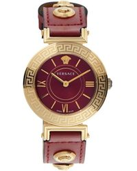 Versace Goldtone Stainless Steel & Leather-strap Watch - Red