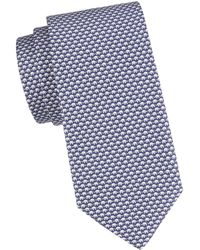 Ferragamo Print Silk Tie - Blue