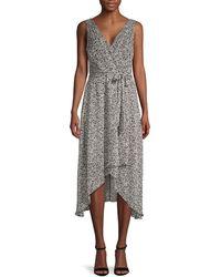 Karl Lagerfeld Floral Chiffon Wrap-effect Dress - Black