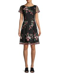 Adrianna Papell Floral Bouquets Embroidered Flare Dress - Black