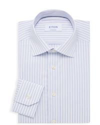 Eton of Sweden Contemporary-fit Striped Dress Shirt - Blue
