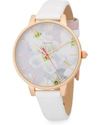 9b12af0c8 Ted Baker - Stainless Steel And Leather-strap Watch - Lyst