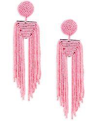 Kenneth Jay Lane Seed Bead Waterfall Earrings - Pink