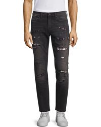 PRPS Mid-rise Skinny Tapered Distressed Flannel-lined Jeans - Black