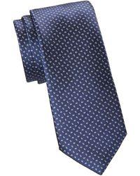 Saks Fifth Avenue Collection Mini Paisley Woven Silk Tie - Blue