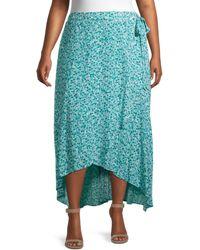 Bobeau Women's Plus Buttercup Floral Wrap Skirt - Green Dots - Size 2x (18-20) - Blue
