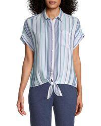 Beach Lunch Lounge Brooklyn Striped Tie-knot Shirt - Blue