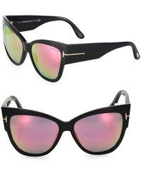 a5d0e620d2d5 Lyst - Tom Ford Anoushka 57mm Mirrored Cat Eye Sunglasses in Gray
