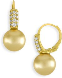 Majorica - 10mm Champagne Pearl And Crystal Drop Earrings - Lyst