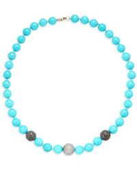Artisan Sterling Silver, Turquoise & Diamond Bead Necklace - Blue