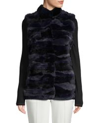 Love Token Rex Rabbit Fur Vest - Blue
