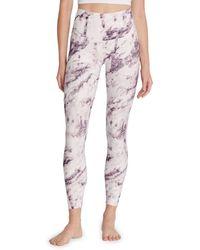 Wildfox Marble-print Leggings - Purple
