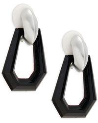 Kenneth Jay Lane Women's Rhodium-plated Geometric Clip-on Drop Earrings - Black