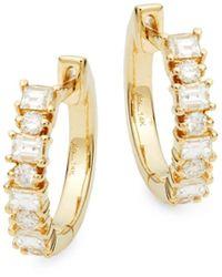Saks Fifth Avenue Women's 14k Yellow Gold Diamond Huggie Hoop Earrings - Metallic