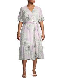 Vince Camuto Plus Floral Ruffled Wrap Dress - Multicolour