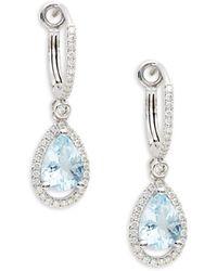 Saks Fifth Avenue - Women's 14k White Gold, Aquamarine & Diamond Earrings - Lyst