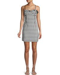 Haute Rogue - Ruffle-trimmed Check Mini Dress - Lyst