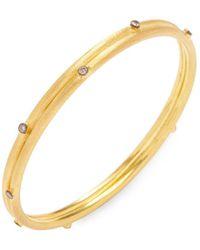 Arthur Marder Fine Jewelry - Silver & Champagne Diamond Bangle Bracelet - Lyst