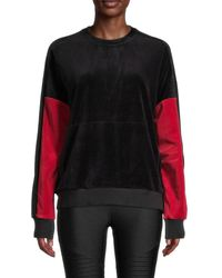 Alala Colorblock Velour Pullover - Black