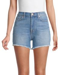 7 For All Mankind Frayed Denim Shorts - Blue