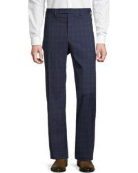 Lauren by Ralph Lauren Men's Windowpane Check Flat-front Trousers - Blue - Size 42 32