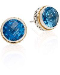 Effy Blue Topaz, Sterling Silver & 18k Yellow Gold Stud Earrings