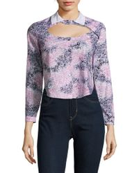 Carven - Printed Long-sleeve Cotton Shirt - Lyst