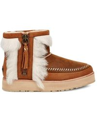 UGG Fluff Punk Shearling & Leather Booties - Brown