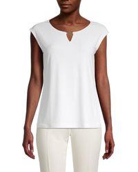 Calvin Klein Women's Roundneck Cap-sleeve Top - Soft White - Size Xs