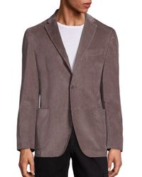 Saks Fifth Avenue Collection Garment Washed Cord Jacket - Brown