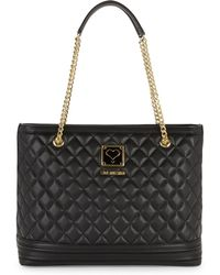 Love Moschino - Quilted Chain Strap Shoulder Bag - Lyst