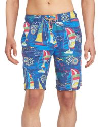 Bugatchi - Nautical Swim Board Shorts - Lyst
