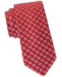 Eton Men's Floral Medallion Silk Tie - Pink Red - Multicolour