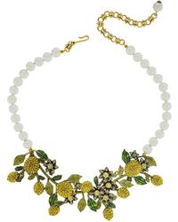 Heidi Daus A Lot Of Lemons Faux Pearl & Crystal Floral Bib Necklace - Multicolor