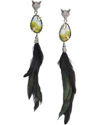 Alexis Bittar 10k Goldplated, Feather, Lucite, & Crystal Clip-on Drop Earrings - Multicolour