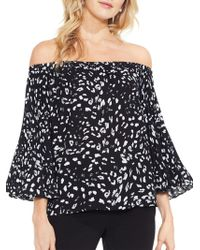 Vince Camuto - Pleated Sleeves Printed Top - Lyst