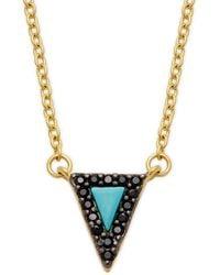Freida Rothman Turquoise & Cubic Zirconia Triangle Pendant Necklace - Blue